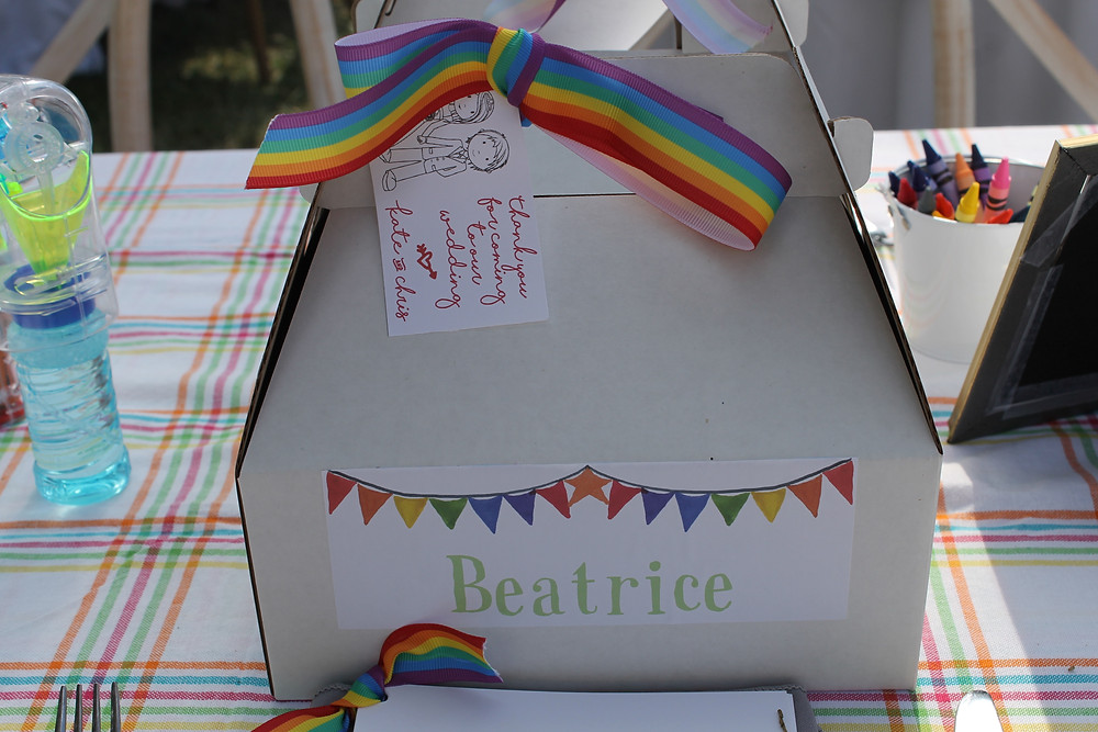 A rainbow themed gift box for the children