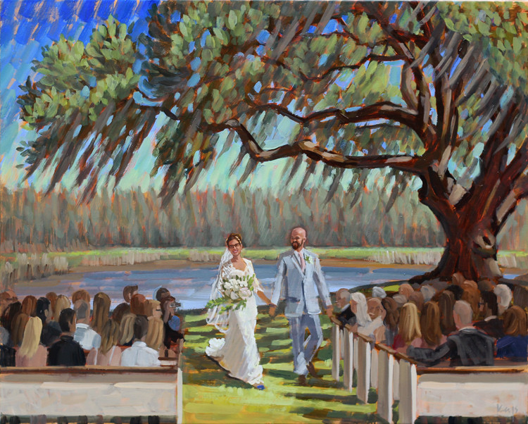 painting of a wedding reception