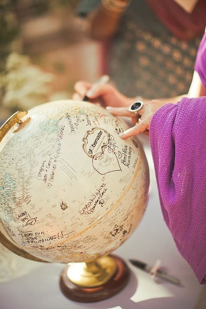 A globe being used as a guest book