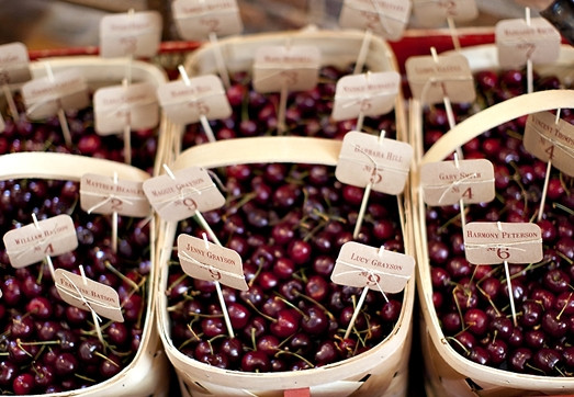 Baskets of cherries for for each table