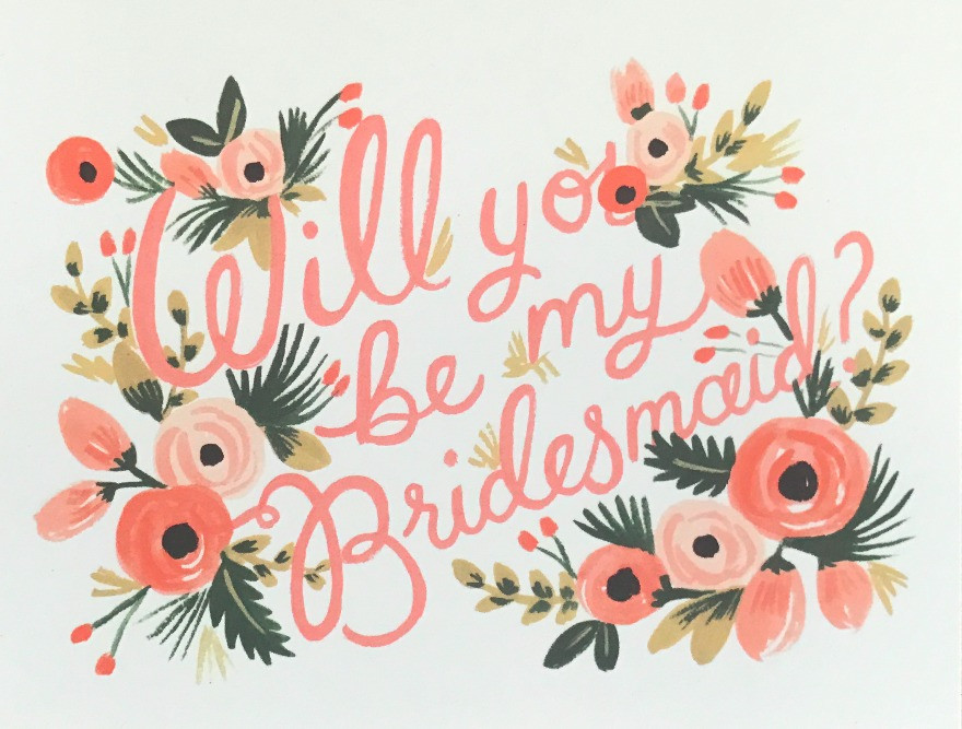 """Floral photo that states """"will you be my bridesmaid?"""""""