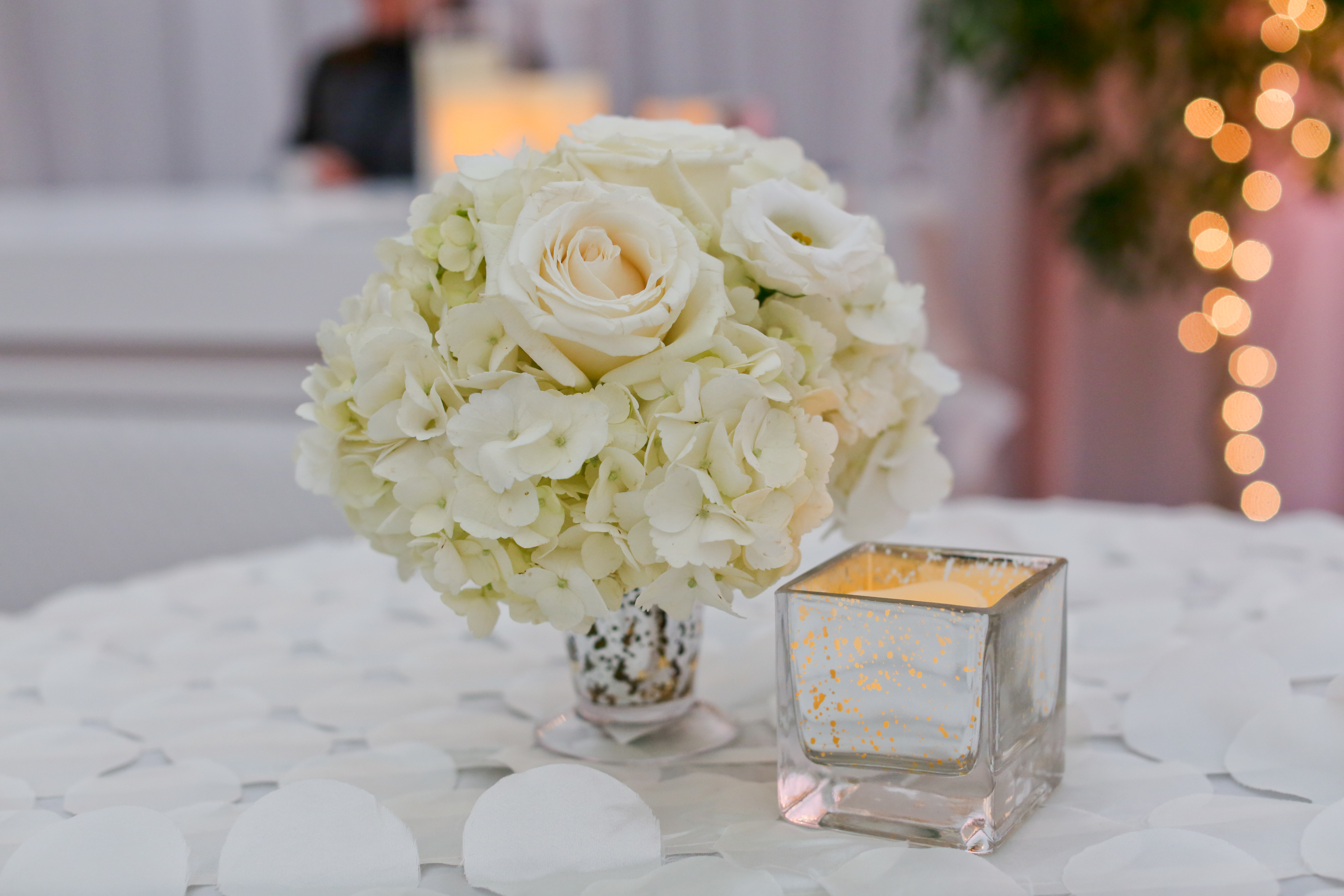 white cocktail centerpiece