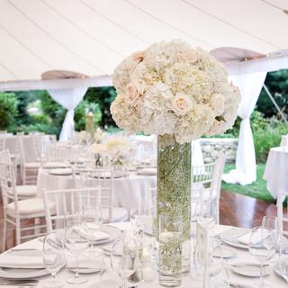white themed floral design