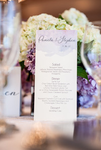 Wedding menu with lavendar theme.