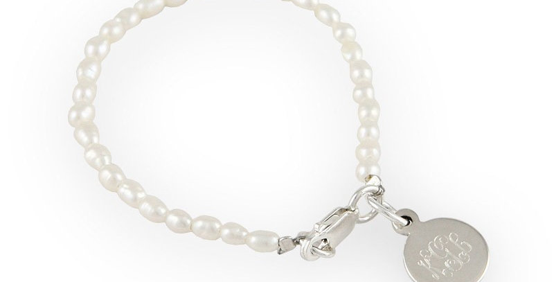 Rice Pearl Bracelet with Sterling Silver Charm