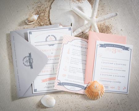 peach themed beach wedding invitation.