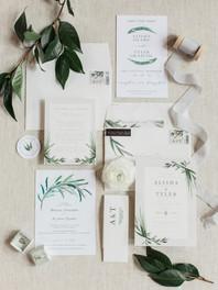 Mountain wedding invtation suite.