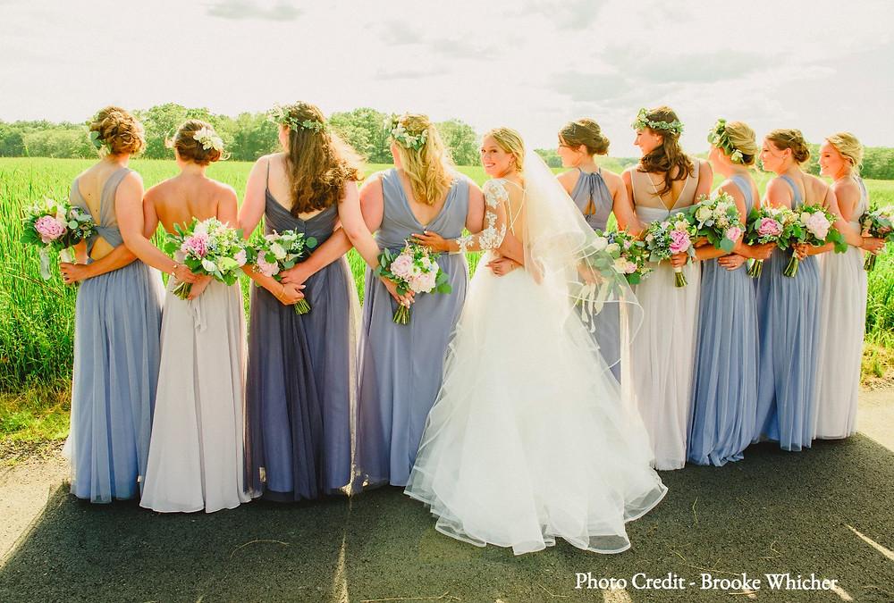 brooke whicher, wedding photo, bride and bridesmaids