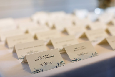 blue wedding place cards.