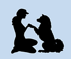 dog giving paw to person icon
