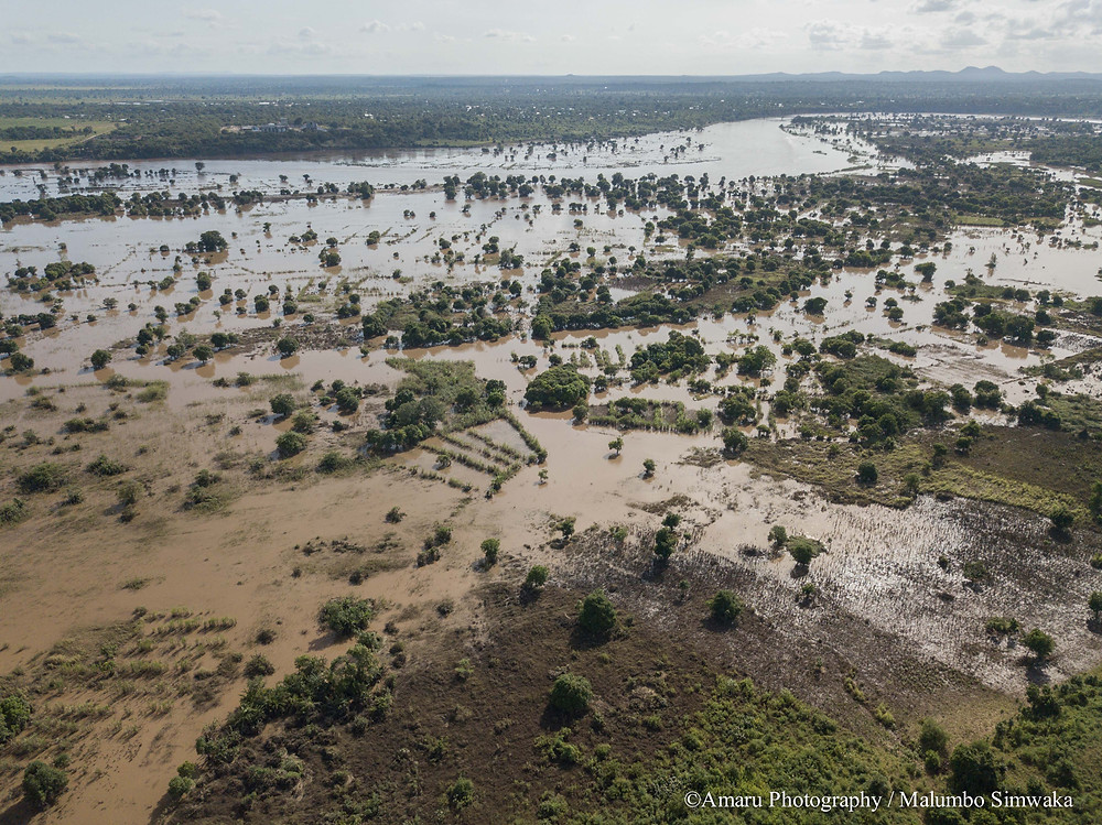 Aerial image showing the flooding area in the south of Malawi