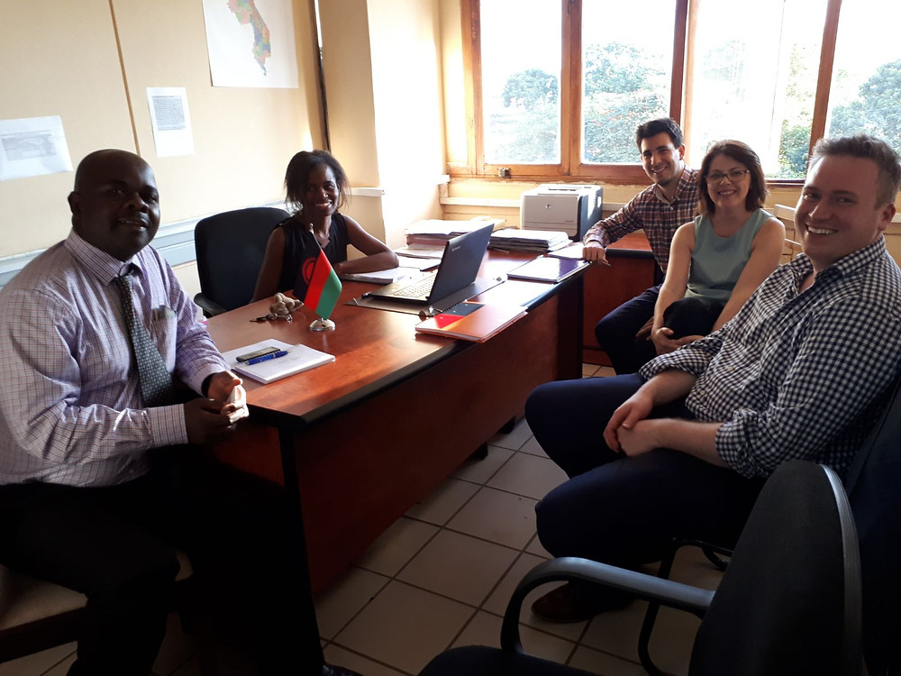 Fig. 1. Donna and Murray, with Amando Borge (Strathclyde University) during the meeting with Zione Uka and Macpherson Nkhata, Chief Groundwater officers of the MoAIWD.