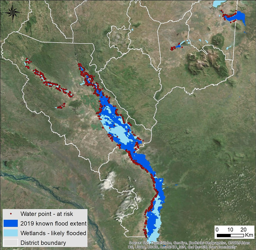 Map of 1,860 water points potentially impacted by the flooding in the south of Malawi (preliminary CJF estimate).