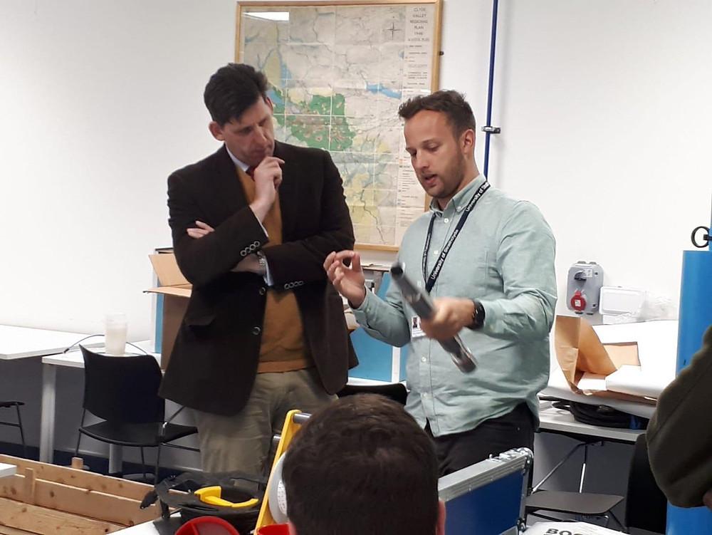 Shaun MacLeod (CJF) showing how the Borehole Forensics kit works
