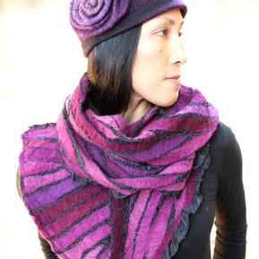 Purple Nunofelt Scarf, Spiral Hat