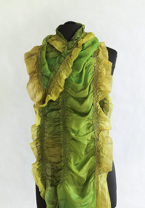 "Nunofelted ""Ribbon"" Scarf - Green"