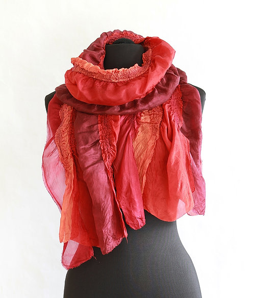 "Nunofelted ""Ribbon"" Scarf - Red"