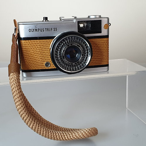 Olympus Trip 35 35mm Compact Street Photography. Reskinned in TAN leather.