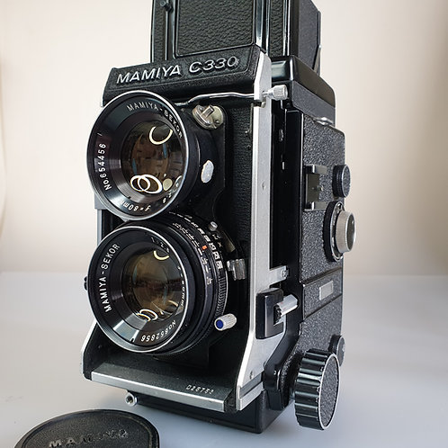 MAMIYA C330  with 80mm f:2.8 Sekor blue Dot lens. Fully serviced and with C