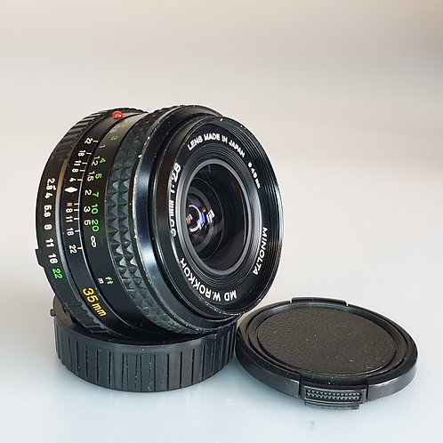 Minolta MD W-ROKKOR 35mm f: 2.8 Wide angle lens. Well used.