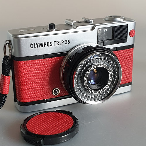 Olympus Trip 35 fully serviced, custom with real leather RED Lizard effect embos