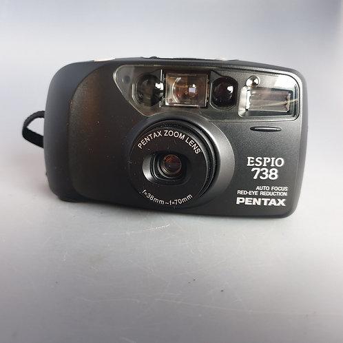 Pentax ESPIO 738  Black 35mm Compact  Point and shoot
