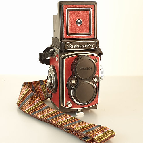 Yashica MAT TLR with Yashinon 80mm f:3.5. Fully Serviced. Reskinned in red