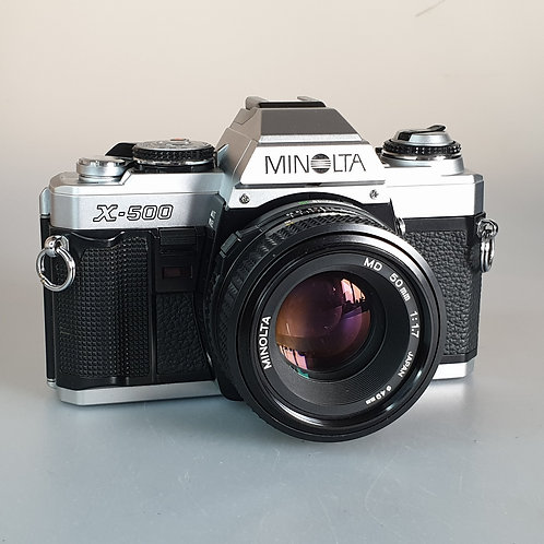 Minolta X500 with 50mm 1.7 MD lens. Beautiful condition.