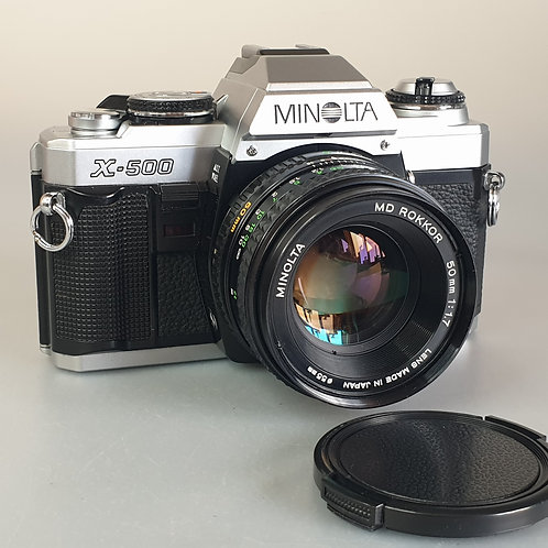 Minolta X500 Silver with ROKKOR 50mm 1.7 MD lens.