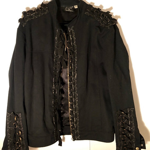 SHRINE JACKET BLACK zippered with metal loops used for videos/photos