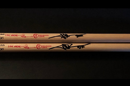 NEW DESIGN (PAIR) - RED LETTERING - 3 PHIL VARONE RDC SIGNATURE DRUMSTICKS