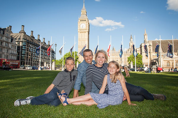 Location portrait of family in London