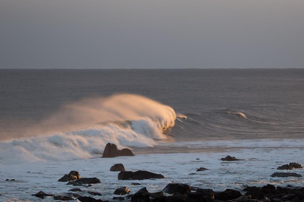Golden hour light breaking wave