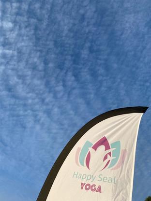 Happy Seal Yoga Flag