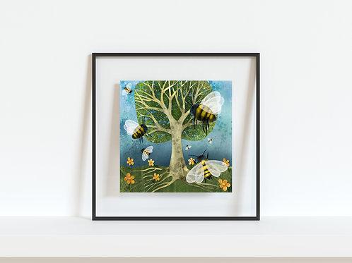 """The Bee Tree 8""""x8"""" Giclee Print"""