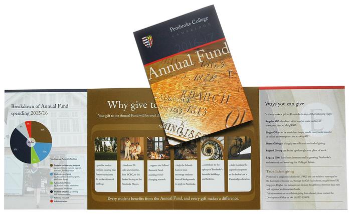Fund-raising leaflet for Pembroke College, Cambridge