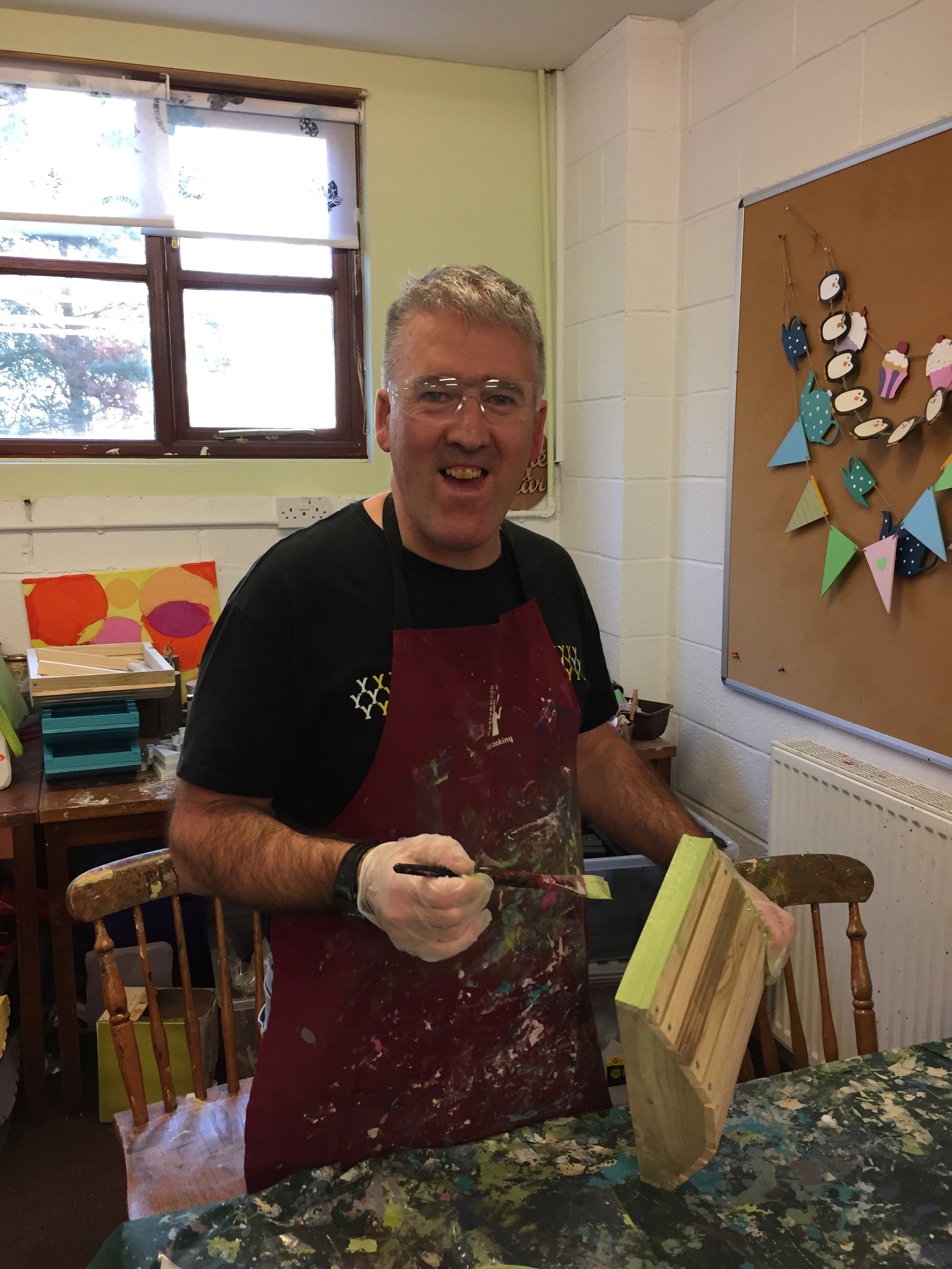 Shaun is very good at working independently on preserving painting for our garden range.