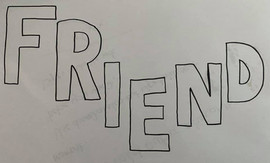 Decorate the letters in the word friend.