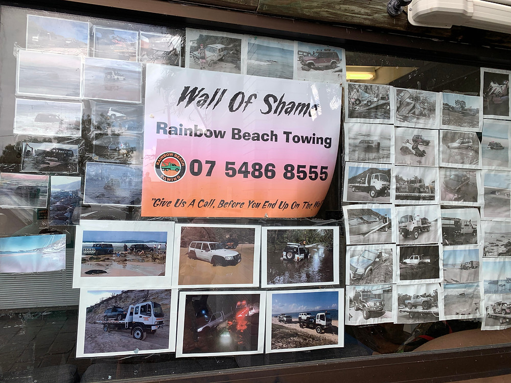 Wall of Shame Fraser Island towing