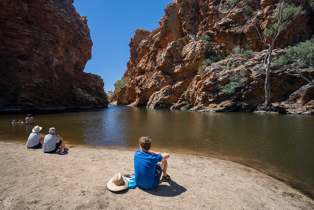 camping in the MacDonnell Ranges Ellery Creek swimming