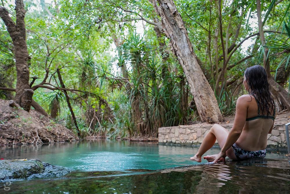 Driving from Alice Springs to Darwin Katherine Hot Springs lower pool