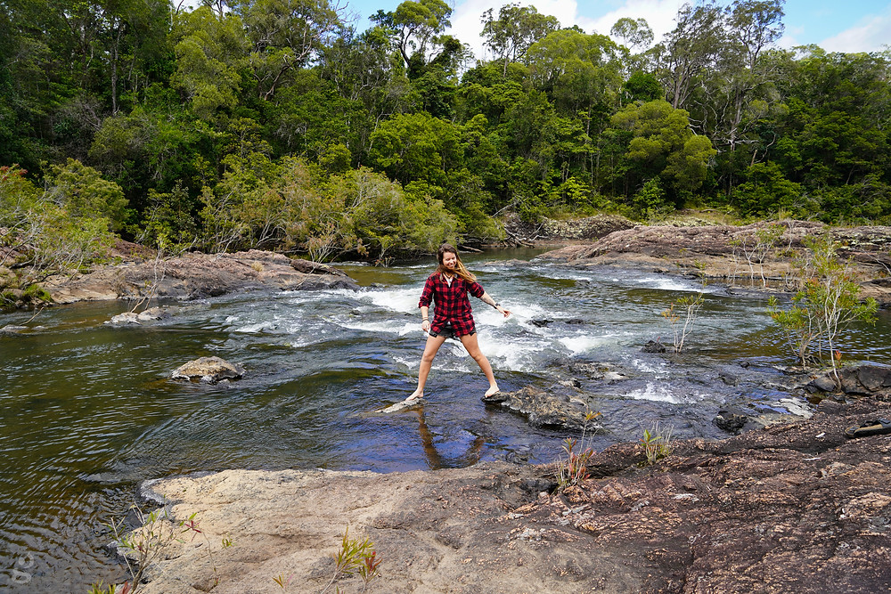 Rocky in the creek at Wallaman