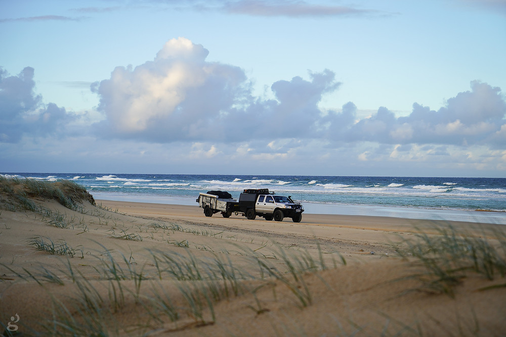 Truck and trailer camping on Fraser Island