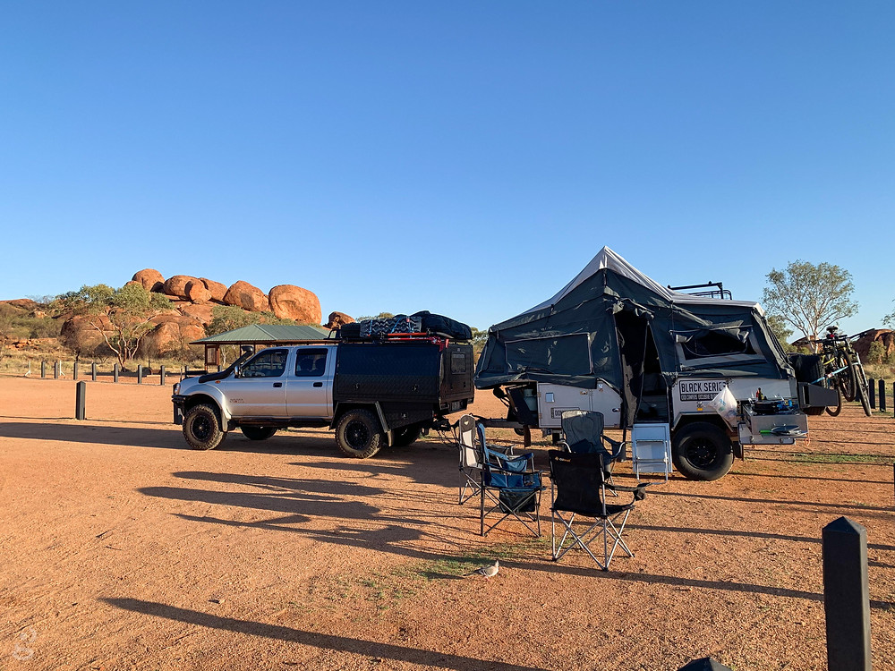 Driving from Alice Springs to Darwin Devils Marbles camp