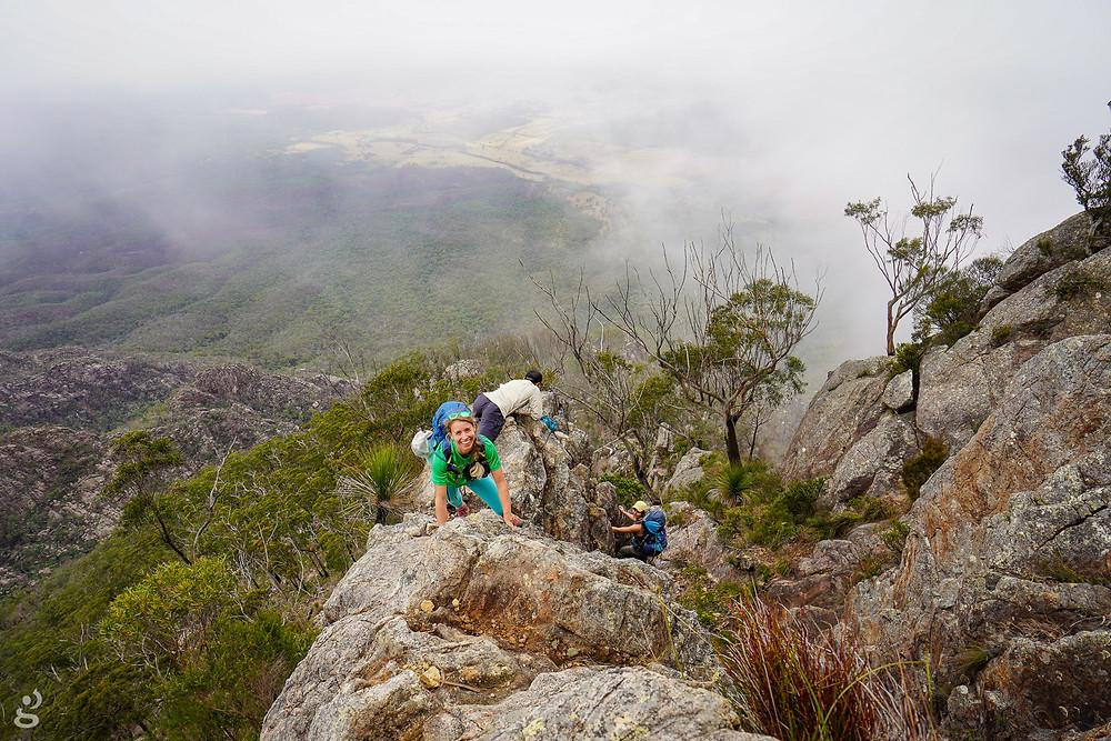 Rock scrambling Logans Ridge