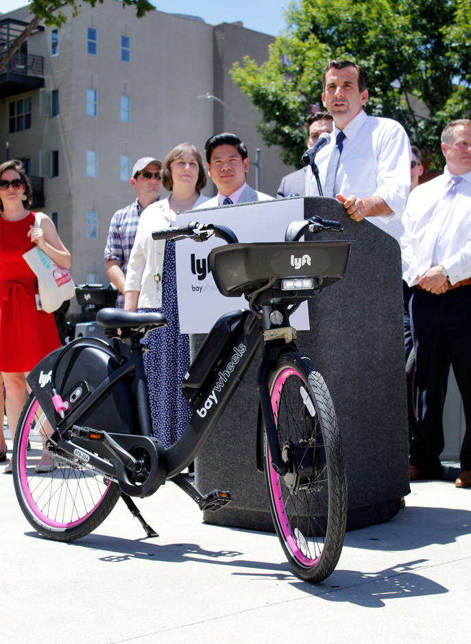 Mayor Sam Liccardo introduces the new Ebikes that will be stationed throughout San Jose. (Kimberly Mitchell/Mosaic)