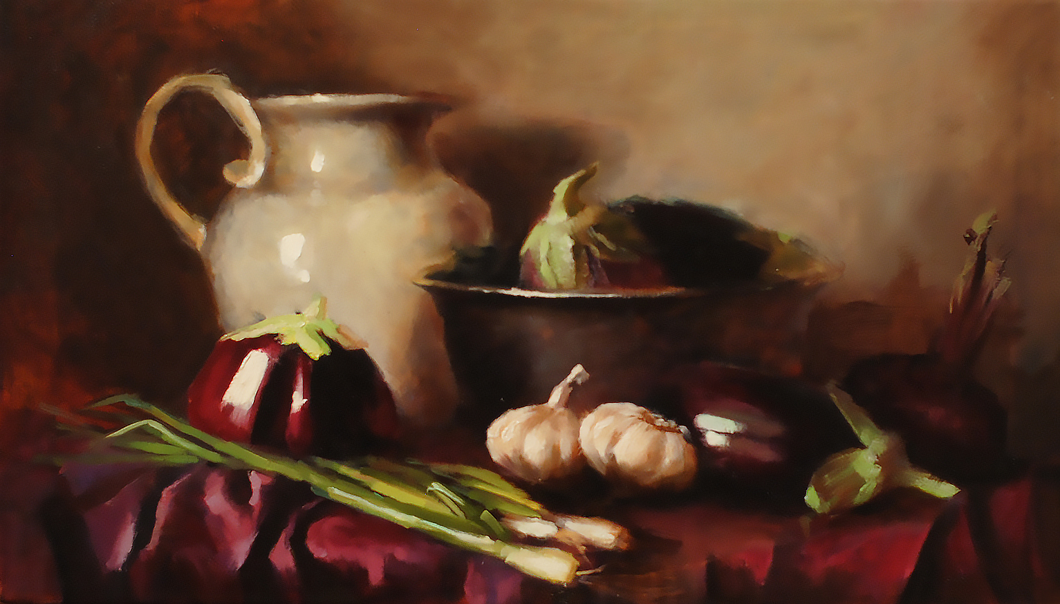 The eggplants still-life