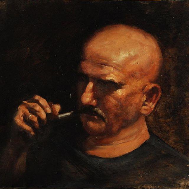 Dad smoking pipe
