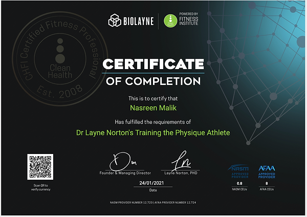 Training the Physique Athlete Certificat