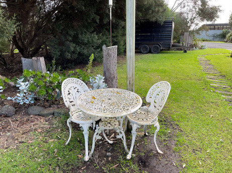 28. STEEL DECORATIVE TABLE + CHAIR SET